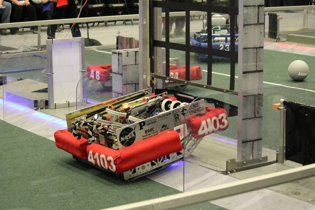 Robot competing in the first robotics competition