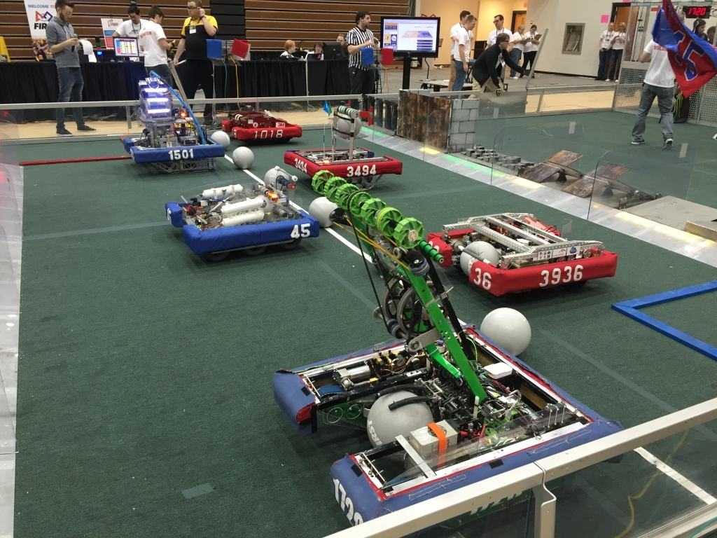 Robots competing in the Indiana First Competition
